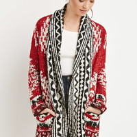Abstract Diamond Patterned Cardigan