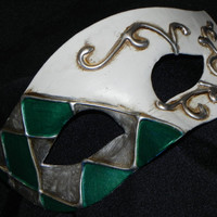 Half Harlequin Mask in Green, White and Silver