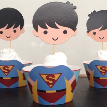 Cute Superman Cupcake Holders, Superhero Cupcake Holders, 3 Dimensional superman cupcake holders