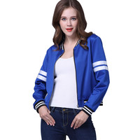 SMOVES Blue Women Bomber Jacket Classic Outwear Autumn Winter Fall Spring Zip Up Coats Outwear New Plus Size S-XL New