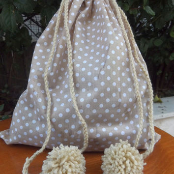 Drawstring Fabric Bag Gift Bag Ballet Shoe Bag Toy Bag Lingerie Travel Pouch  Storage Bag  Pompoms Bag