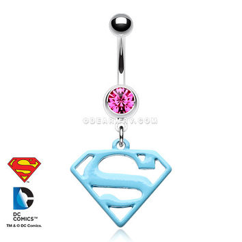 Baby Blue Superman Belly Button Ring