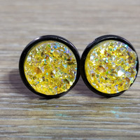 Druzy earrings- Yellow drusy Black stud druzy earrings