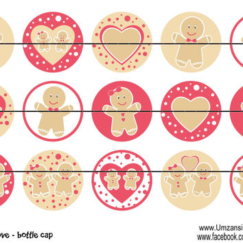 """Gingerbread Love Bottle Cap Images 1"""" Circles Instant Download Digital Emailed 4x6"""