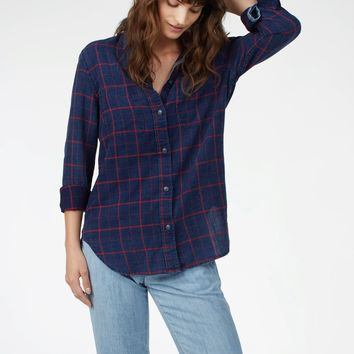 Malibu Shirt - Indigo Windowpane Red