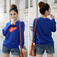 Women's Superman Logo T-Shirt Blouse Tops Long Sleeve Casual Top New (Size: S, Color: Blue) = 1945978628
