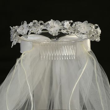 Organza & Crystal Flowers, Rhinestones & Pearls Veil Headpiece First Holy Communion (Girls)