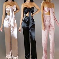 Satin 2 piece bow crop top pants set