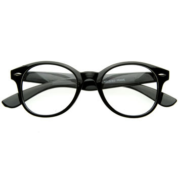 RX Classic Round Clear Lens Shades Glasses Horned Rim and Rivets 8400
