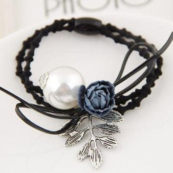 LMFCI7 Korean Fashion Metal Antique Leaves Flower Pearl Headbands Women Hair Jewelry Hair Bands