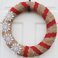 $30.00 FREE SHIPPINGChristmas wreathBurlap and snowflakes by Stylishstems