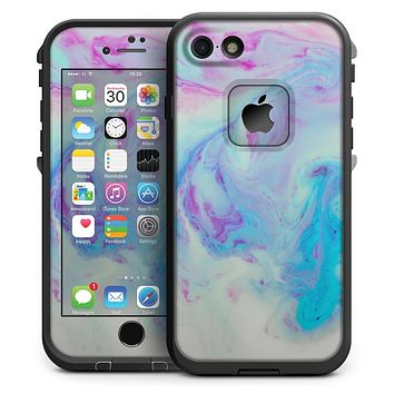 Marbleized Pink and Blue Paradise V371 - iPhone 7 LifeProof Fre Case Skin Kit