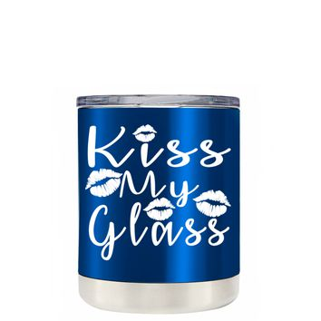 TREK Kiss My Glass on Translucent Intense Blue 10 oz Lowball Tumbler