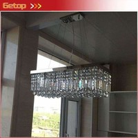 """New Modern Luxury K9 Crystal Chandeliers L39.5"""" X W10"""" X H10"""" Rectangle Pendant Lamp Ceiling Lamp LED Fixture Lighting"""