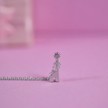 Tiny Giraffe Necklace, Rhodium Plated Brass Pendant, Delicate Chain, Perfect Gift