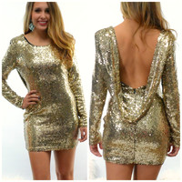 SZ LARGE Glisten Up Gold Sequin Cocktail Party Dress
