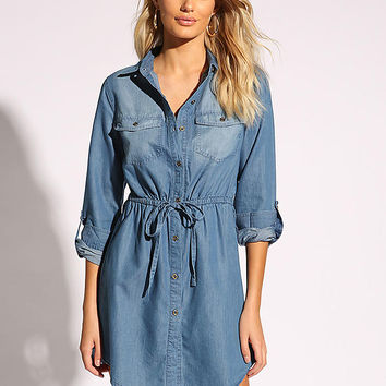 Blue Collared Drawstring Denim Dress