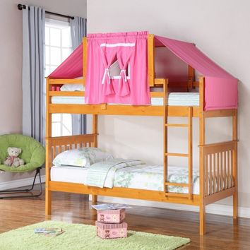 Ella Honey Bunk Bed with Pink Tent