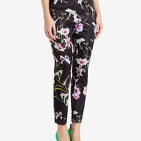 Black Floral Print Pencil Pants With Pocket