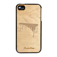 Marimba Engraved on Wood iPhone 4 Case - For iPhone 4 4S 4G - Designer Real Bamboo Back Case Verizon AT&T Sprint
