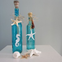 Beach Decor Decorative Bottles in Turquoise Aqua w Starfish & S... | beachgrasscottage - Housewares on ArtFire