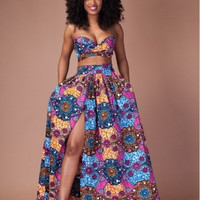 Plus Size High Waist Floral Printed Skirt with Tops