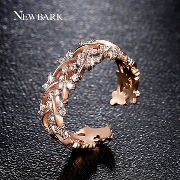 NEWBARK New Design Resizable Opening Rings Garland Sparkling Queen Crown For Women Ring Fashion Jewelry Anillos Bague