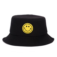 Smiley Face Adult Unisex Black & Yellow Casual Summer Beach Flat Bucket Hat