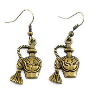 Tiny Perfume Bottle - Antiqued Brass Vintage Style Dangle Earrings - CP034