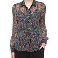 Mariah Splatter-Print Silk Blouse, Black/Multicolor, Size: