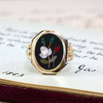 Vintage 10k Pietra Dura Ring, Circa 1930 Italian Micro Mosaic in Black Onyx Miniature Rose Flower Ring Bohemian Statement Nature Lover Gift