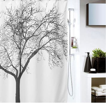 180*180cm Bathroom Shower Curtains Black Tree Design Polyester Waterproof Bath Curtains with Hooks Bathroom Product