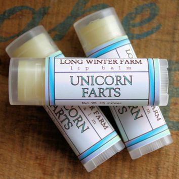Unicorn Farts Lip Balm  One Tube Beeswax Shea by LongWinterSoapCo
