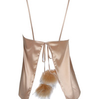 Golden Faux Fur Pom Tied Backless Spaghetti Strap Cami Top