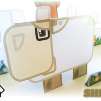 Printable paper toy craft activity. Instant download. Flat Ed Farm sheep! Make you own cards, banners and sheep bunting!