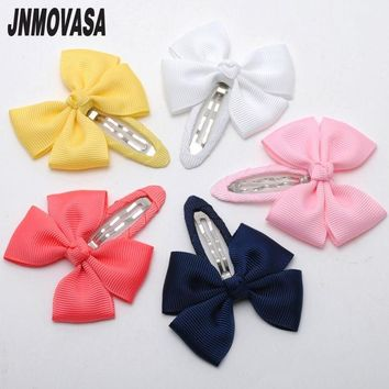 ONETOW 2pcs/lot solid grosgrain bows toddler baby girls hair snap clips hairpins children accessories assorted colors free shipping