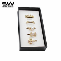 STARWORLD 5 pcs Fashion Rings Set With Gift Imitation Pearls Bowknot Crown Ring Gold plated Finger Ring for Women Jewelry