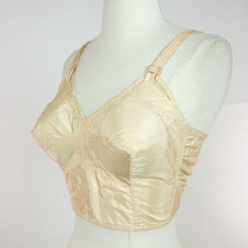 1950s Peach bullet bra, pointed conical cone long line bra, Corette rayon full coverage, 34 F, 36 D
