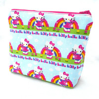 Hello Kitty Rainbows Make Up Accessory Bag - Hello Kitty Kawaii Rainbow Spring Bright Pink Make Up Accessories Bag Pouch Clutch