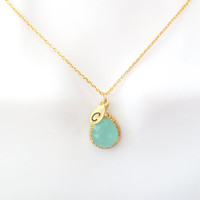 Mint, necklace, initial, letter, necklace, personalized, necklace, mint, jewelry, bridesmaid, necklace, bridal, wedding, gift, jewelry