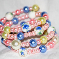 Memory Wire, Jewelry, Pink, Cream and Blue Hand Blown Beads, Bracelet, Love,