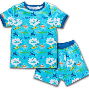 Airplanes Organic Cotton Short Sleeve Pajama Set