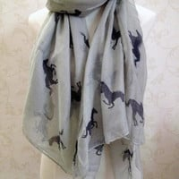 voile Running horse scarf Long square shawl women fashion scarves 180*110cm oversize wrap -gray-