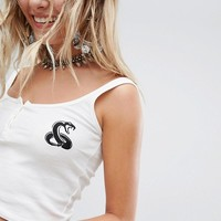 Sacred Hawk Embroidered Tank Top In Rib at asos.com