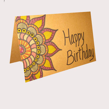 Hand Drawn Happy Birthday  Greeting Paper Card Drawn Flower Blank Inside   Pink Blue Green Yellow Brown Circle  Flower Sharpie Art