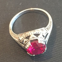 Ruby Gemstone Ring, Sterling Silver, Art Deco Revival Vintage Jewelry, CHRISTMAS SALE