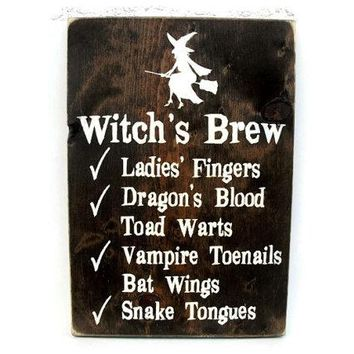 Halloween Sign Rustic Wood Wall Decor - Witch's Brew Recipe (#1232)