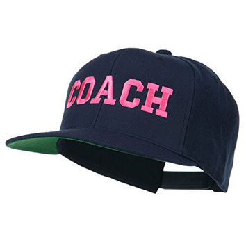 Women's Coach Embroidered Flat Bill Cap - Navy OSFM