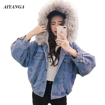Trendy 2018 Big fur collar Coats Women Denim Jackets Faux Fur Hooded Outerwear Winter Coat For Women Thick Fleece Warm Jacket Female AT_94_13