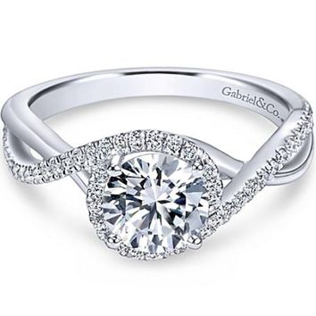 "Gabriel ""Courtney"" Twist Diamond Halo Engagement Ring"